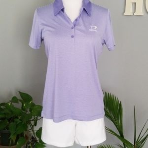 EP Pro Women's Short Sleeve Stripe Lilac Golf Polo